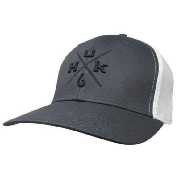Huk Performance Fishing Head Gear Snapback Gray Blue Logo Fishing Hat Cap New